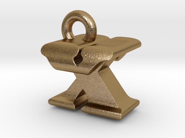 3D Monogram - XTF1 in Polished Gold Steel