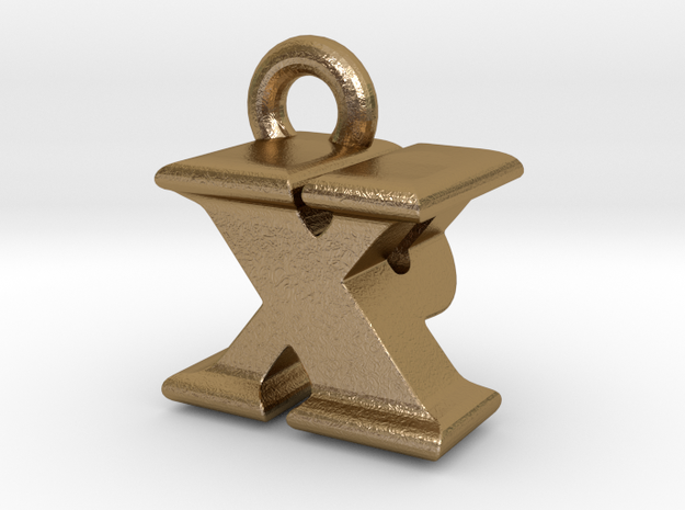 3D Monogram - XPF1 in Polished Gold Steel