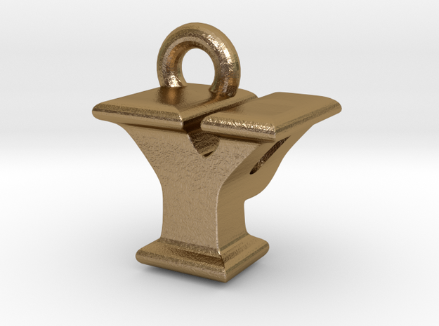 3D Monogram - YPF1 in Polished Gold Steel