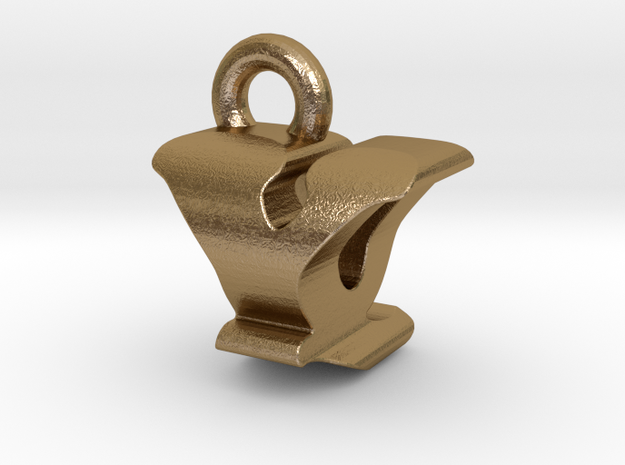 3D Monogram - YQF1 in Polished Gold Steel