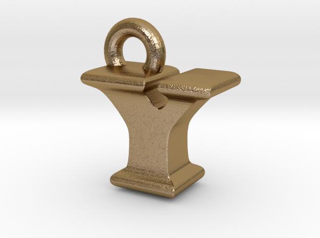 3D Monogram - YIF1 in Polished Gold Steel
