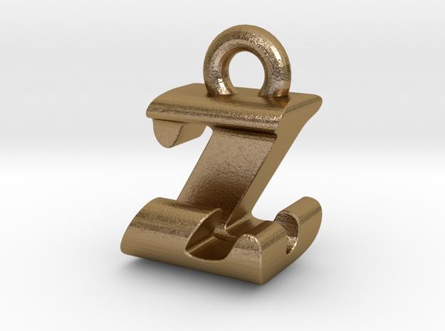 3D Monogram - ZJF1 in Polished Gold Steel