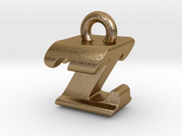 3D Monogram - ZTF1 in Polished Gold Steel
