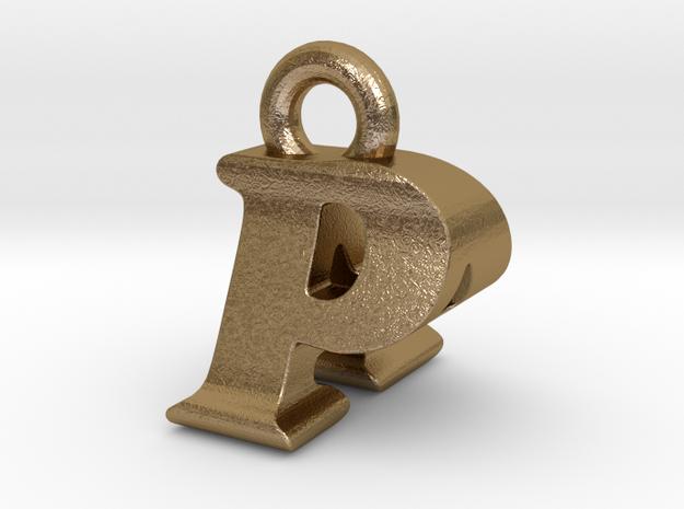 3D Monogram Pendant - PAF1 in Polished Gold Steel