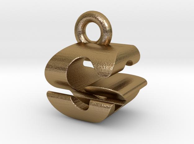 3D Monogram Pendant - GSF1 in Polished Gold Steel