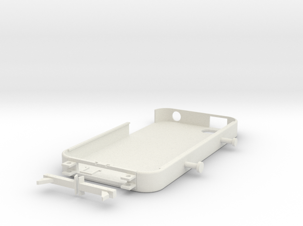 iPhone 4/4S Case w/ Stand & Earphone Holder in White Strong & Flexible