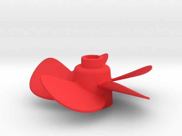 Propeller with 5 Blades in Red Processed Versatile Plastic