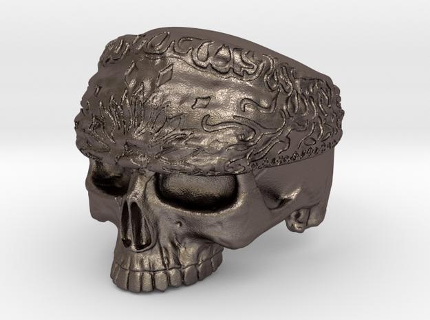 Ring SkullBandana Size - 8 in Polished Bronzed Silver Steel