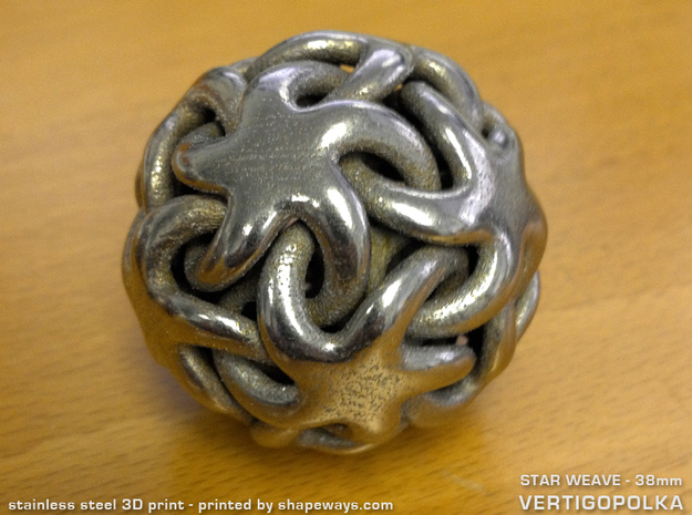 Star Weave 38mm in Polished Bronzed Silver Steel