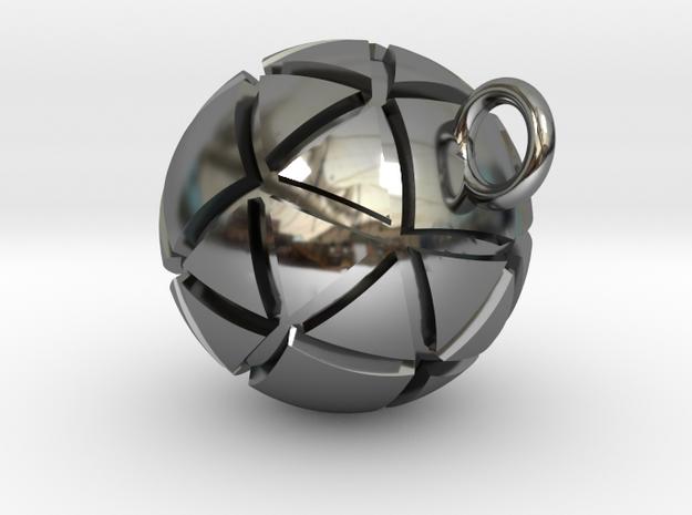 Pendentif Sphérique. Pendant sphere. in Premium Silver