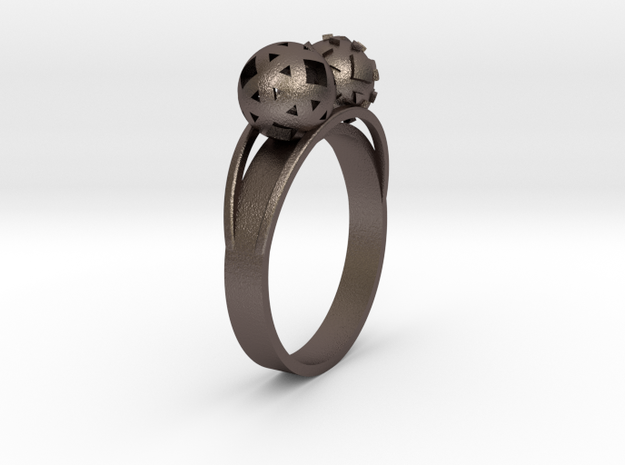 Diam=17. Bague Toi Et Moi. Ring Duo Sphere. in Stainless Steel
