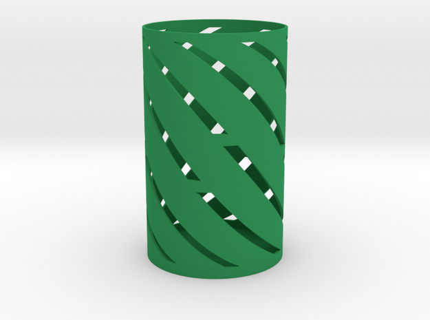 Spiral Pen Holder in Green Processed Versatile Plastic