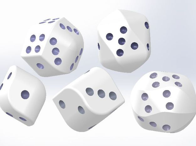 set of dice with convex faces (pips)