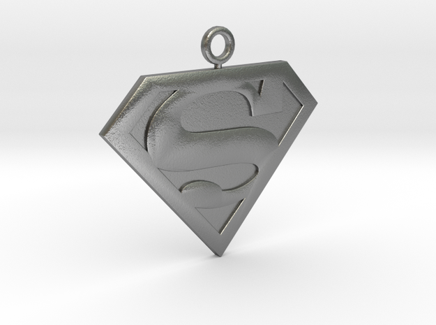 SuperMan Pendant in Natural Silver