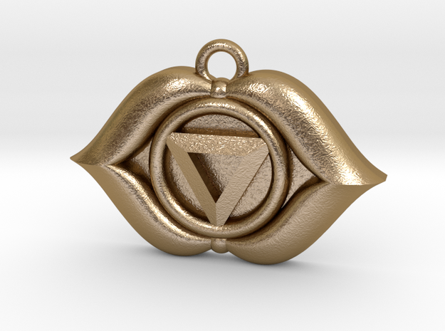 Ajna (Third Eye Chakra) Pendant in Polished Gold Steel
