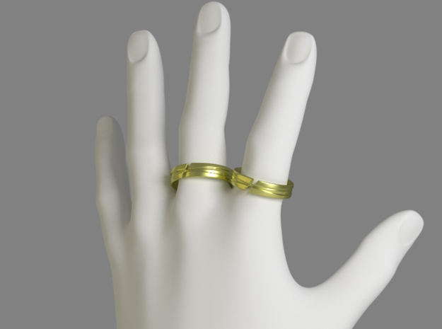 Servant Ring - EU Size 63 in Polished Gold Steel