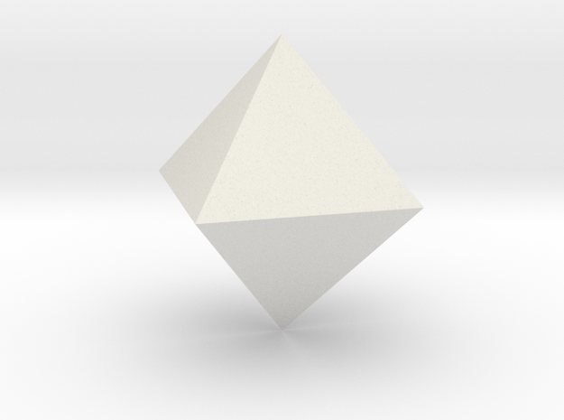 Octahedron in White Natural Versatile Plastic