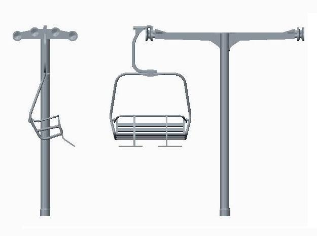 Ski Lift Tower No Base in White Strong & Flexible
