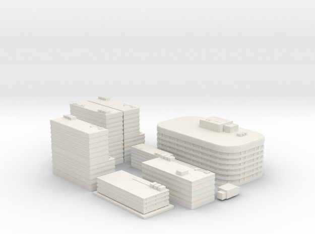 City Building Set (8 in 1)  in White Natural Versatile Plastic
