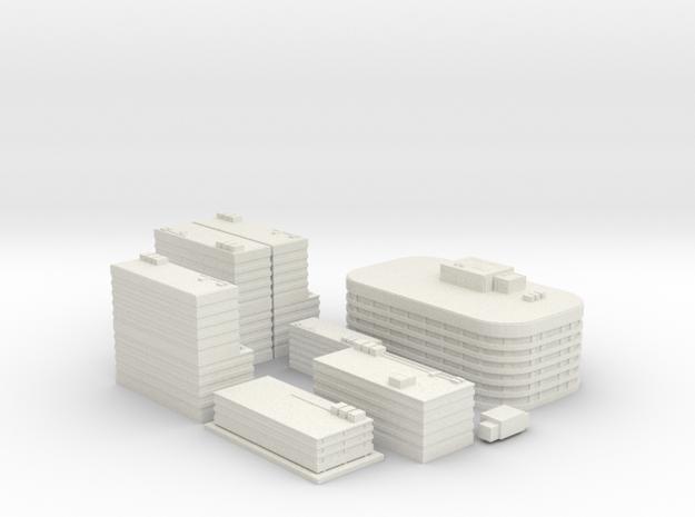 City Building Set (8 in 1)  in White Natural Versatile Plastic
