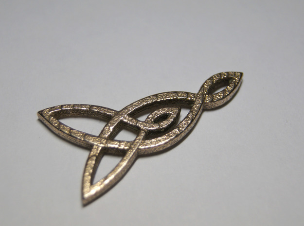 Triquetra Celtic Necklace Left Piece in Polished Bronzed Silver Steel