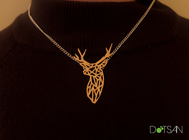 Stag Head Pendant Broach in Matte Gold Steel
