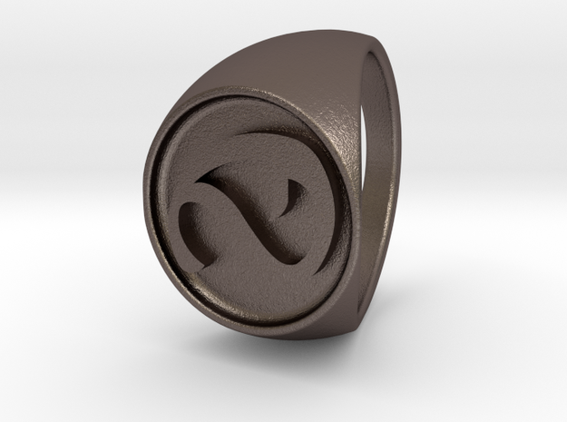 Custom Signet Ring 3 in Polished Bronzed Silver Steel