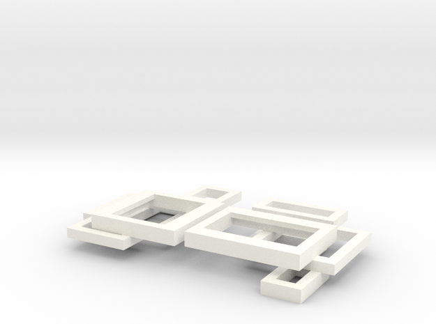 open square ear studs 3d printed