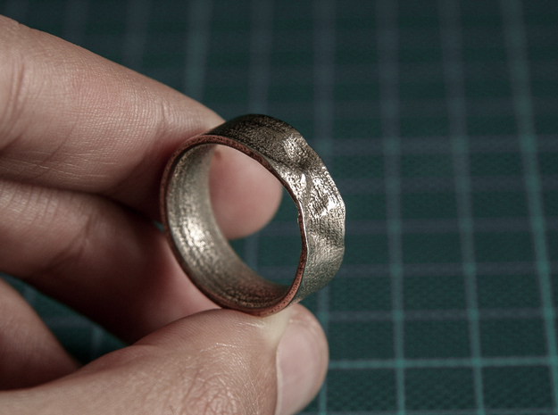 The Crumple Ring - 21mm Dia in Polished Bronzed Silver Steel