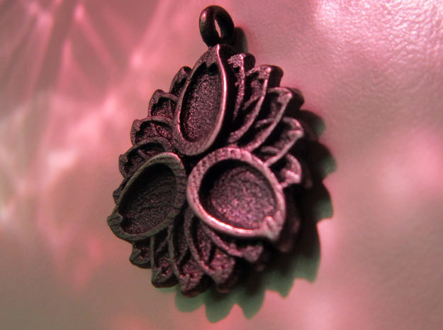 3 Petals with or without Initials - 2.5cm in Matte Bronze Steel