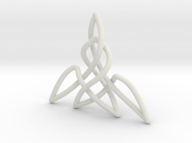 Triquetra Pendant 2 in White Natural Versatile Plastic