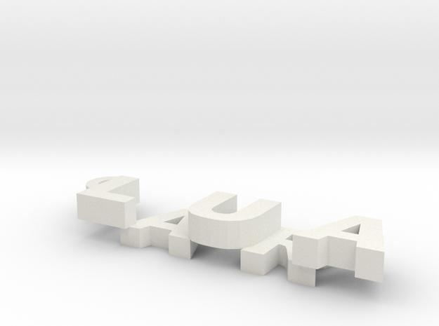 Customise Name Keyring in White Natural Versatile Plastic