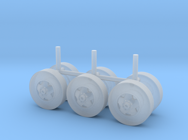 """1/87 Scale Motorhome Wheels """"5 Slot"""" in Frosted Ultra Detail"""