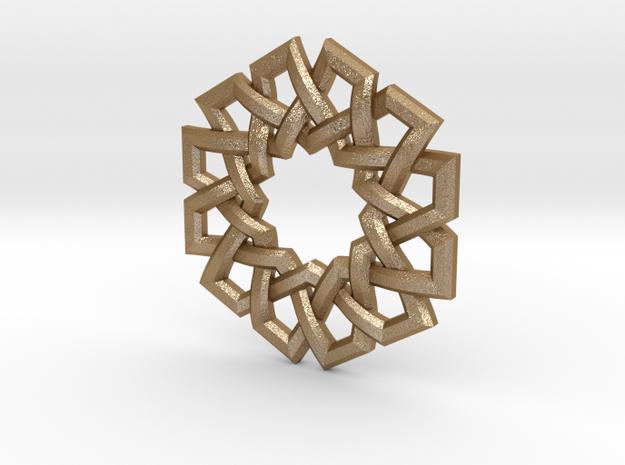 Hexad Pendant in Matte Gold Steel