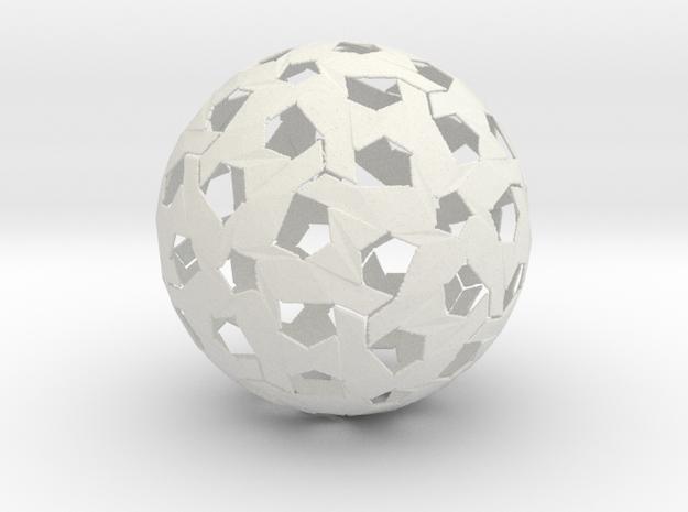 Hexagonal Weave Sphere in White Natural Versatile Plastic