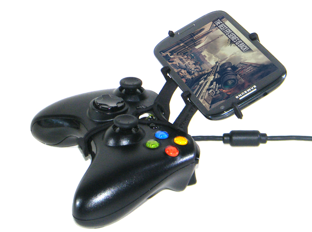 Xbox 360 controller & Alcatel One Touch Scribe HD- 3d printed Side View - A Samsung Galaxy S3 and a black Xbox 360 controller