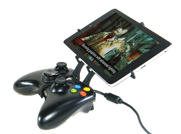 Xbox 360 controller & Alcatel One Touch Evo 8HD 3d printed Side View - A Nexus 7 and a black Xbox 360 controller