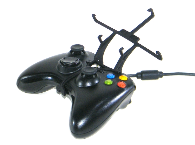 Xbox 360 controller & HTC P4350 3d printed Without phone - A Samsung Galaxy S3 and a black Xbox 360 controller