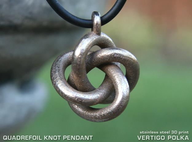 Quadrefoil Knot Pendant in Polished Bronzed Silver Steel