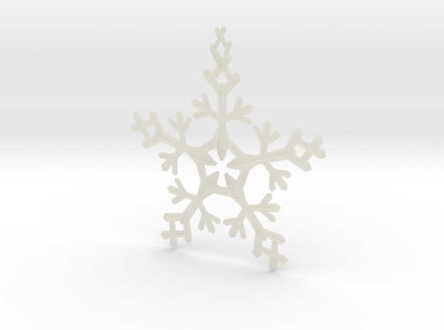 Snow Flake 5 Points - w Loopet - 7cm 3d printed