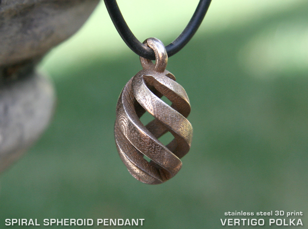 Spiral Spheroid Pendant in Polished Bronzed Silver Steel