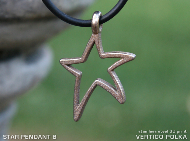 Star Pendant B in Polished Bronzed Silver Steel