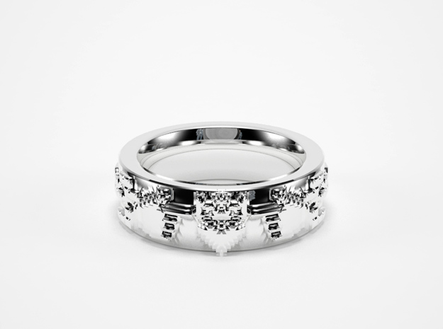 8bit Claddagh ring mkII size 5.5 in Raw Silver