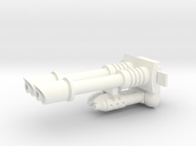 Sci-fi twin gun & twin flamehrower 25mm scale in White Processed Versatile Plastic