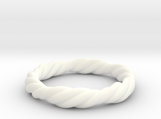 Twist Ring in White Processed Versatile Plastic