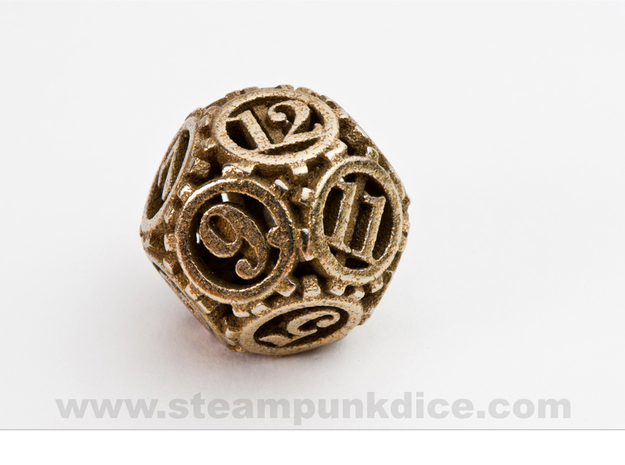 Steampunk Gear d12 in Polished Bronzed Silver Steel