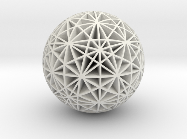 Stars Sphere in White Natural Versatile Plastic