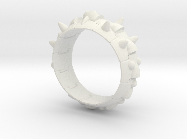 Armor Ring 01   (with stone hole) US 7.5 in White Strong & Flexible