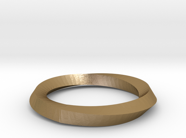 Mobius Wedding Ring-Size 4 in Polished Gold Steel