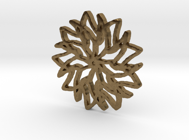 Floral Snowflake Pendant in Raw Bronze